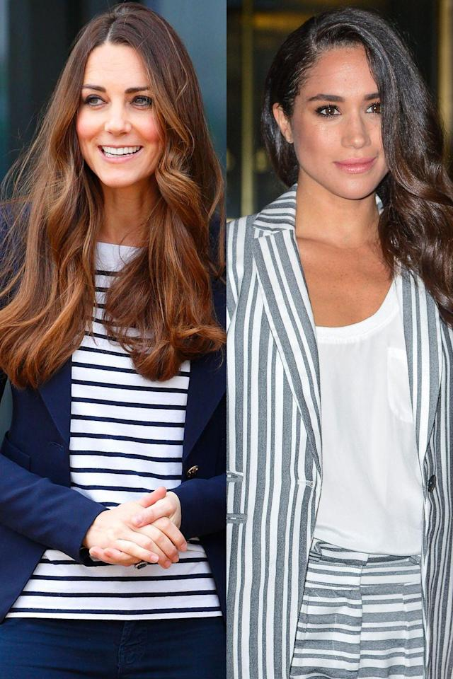 <p>Meghan went all out with this striped suit/shorts combo, while Kate kept her look more simple, opting to wear a striped shirt beneath a navy blazer. </p>