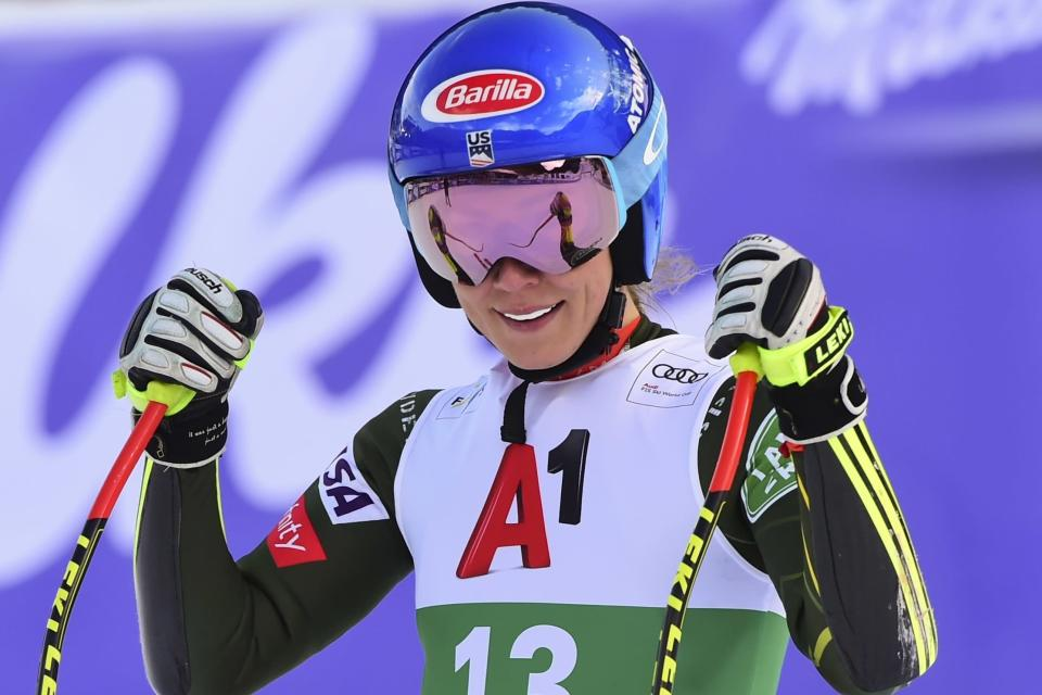 United States' Mikaela Shiffrin smiles as she gets to the finish area after completing an alpine ski, women's World Cup super-G, in Bansko, Bulgaria, Sunday, Jan. 26, 2020. (AP Photo/Pier Marco Tacca)