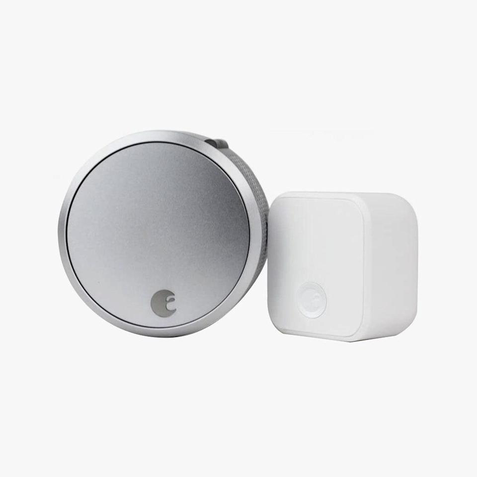 "Remotely control the locks on any door in the house with this cool little device. $230, AMAZON. <a href=""https://www.amazon.com/August-Smart-Lock-Connect-technology/dp/B0752V8D8D/"" rel=""nofollow noopener"" target=""_blank"" data-ylk=""slk:Get it now!"" class=""link rapid-noclick-resp"">Get it now!</a>"
