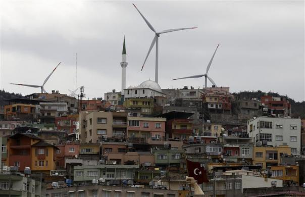 Wind turbines are seen in the town of Belen in Hatay province, southern Turkey, March 16, 2012.