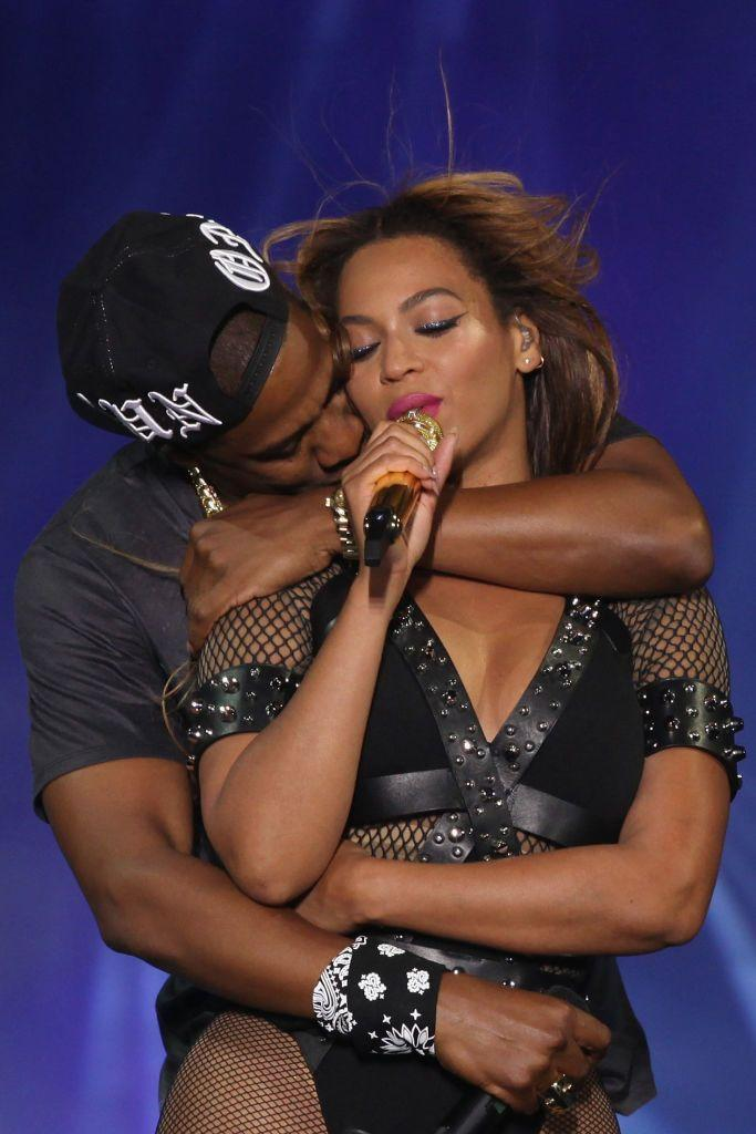<p>Jay-Z hugged his wife on stage in Paris, France, during their 2014 OTR tour.</p>