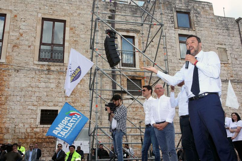 Italian Deputy Premier and Interior Minister Matteo Salvini, right, addresses a rally in Putignano, Southern Italy, Wednesday, May 22, 1019. Some 400 million Europeans from 28 countries head to the polls from Thursday to Sunday to choose their representatives at the European Parliament for the next five years.