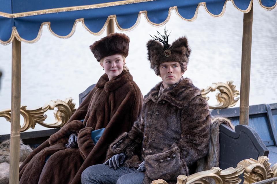 "Elle Fanning and Nicholas Hoult put on their best furs and drink a lot of vodka as Catherine the Great and her hapless husband, Peter III, in ""The Great."""