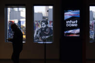 A mural depicting Los Angeles Clippers' Kawhi Leonard is seen through a window of a model room of Intuit Dome, a proposed arena for the Clippers located in Inglewood, Calif., Thursday, Sept. 16, 2021, in Los Angeles. (AP Photo/Jae C. Hong)