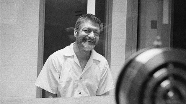 Kaczynski laughs during an interview in a visiting room at the ADX Florence prison on Aug. 30, 1999. Photo: Stephen J. Dubner/Getty