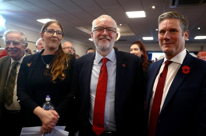 Britain's opposition Labour Party leader Jeremy Corbyn, Shadow Brexit Secretary Keir Starmer and Shadow Minister for Labour Laura Pidcock attend a general election campaign meeting in Harlow