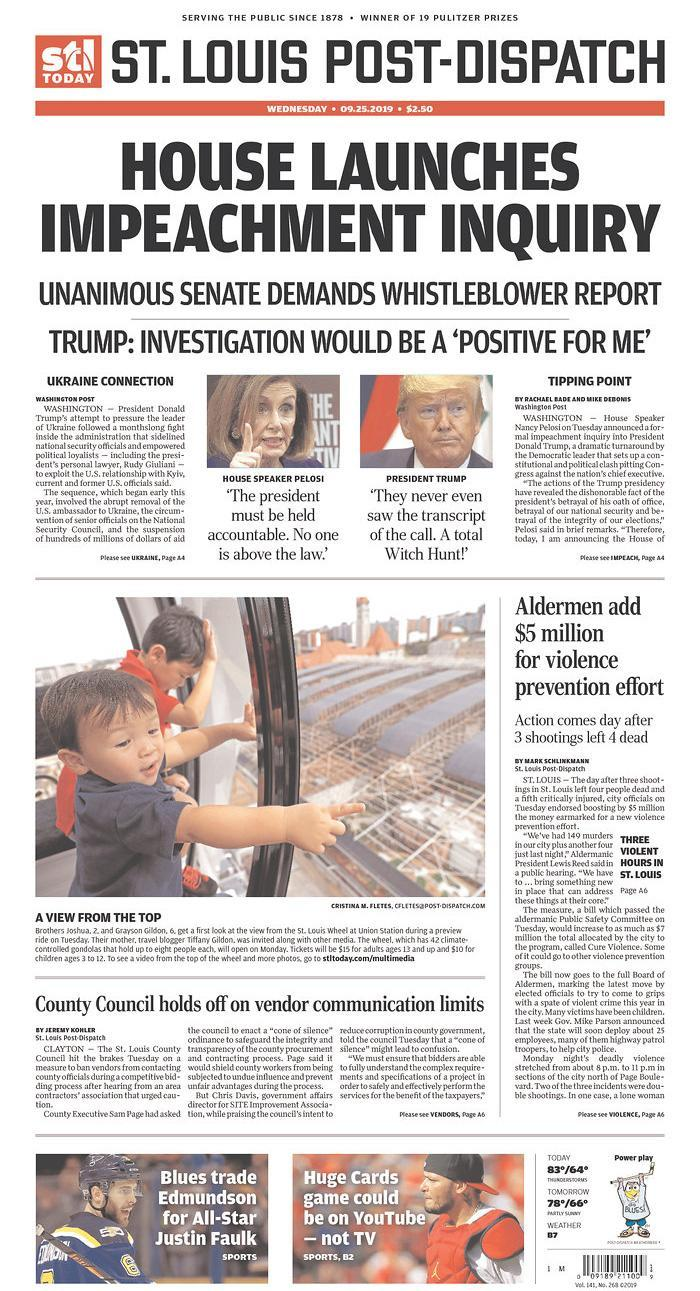 House Launches Impeachment Inquiry St. Louis Post-Dispatch Published in St. Louis, Mo. USA. (newseum.org)