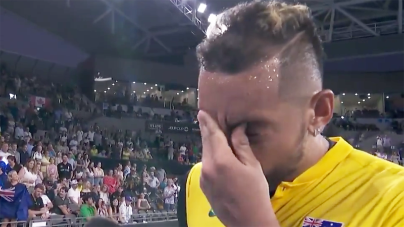 Nick Kyrgios, pictured at the ATP Cup, teared up when asked about Australia's bushfire disaster.
