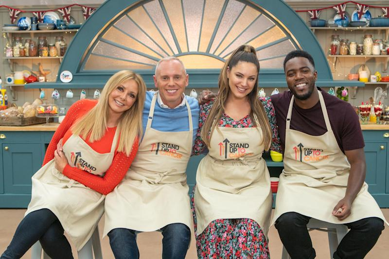Carol Vorderman, Rob Rinder, Kelly Brook and Mo Gilligan were the final celebrities to take part in 2020's 'The Great Stand Up To Cancer Bake Off'. (Mark Bourdillon/Channel 4)