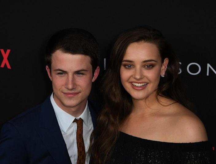 Actors Dylan Minnette and Katherine Langford are the stars of Netflix's '13 Reasons Why', which tells the story -- in reverse -- of the suicide of Langford's character (AFP Photo/Mark RALSTON)