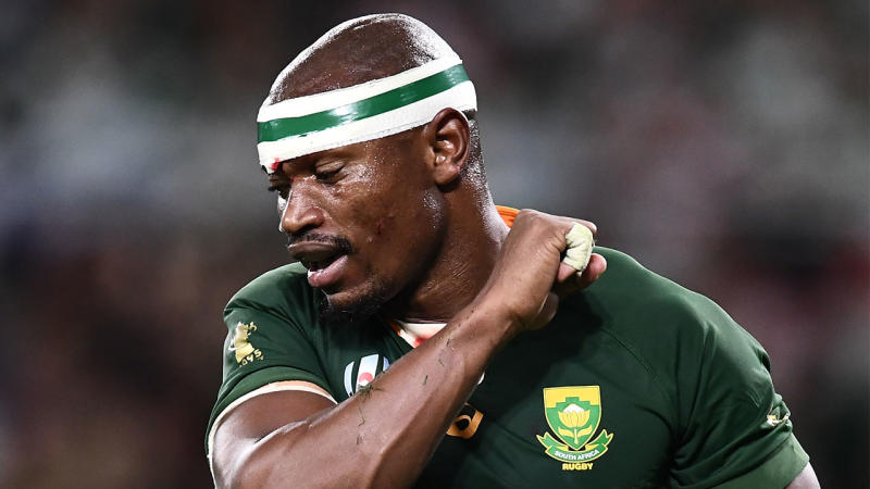 The South African coach has shut down calls of racism within the South African squad after a video online appeared to show winger Makazole Mapimpi being excluded from a huddle after the Italy victory. (Photo by ANNE-CHRISTINE POUJOULAT/AFP via Getty Images)
