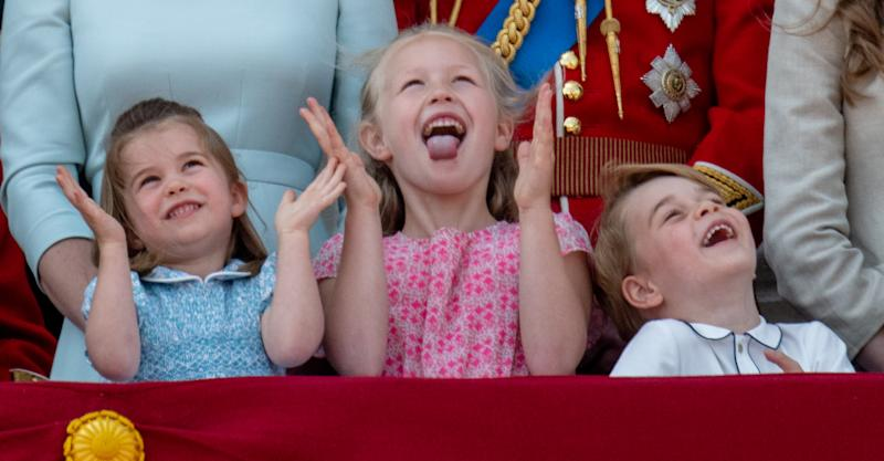 George and Charlotte goof off at William's polo match