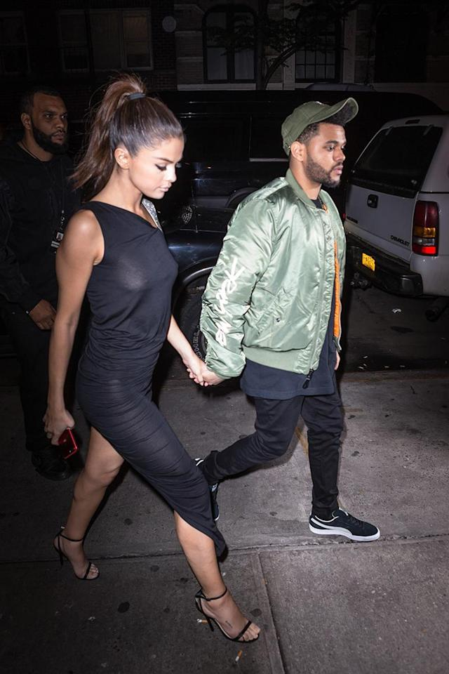Selena Gomez and The Weeknd were spotted hand in hand on Tuesday night in New York City. (Photo: BACKGRID)