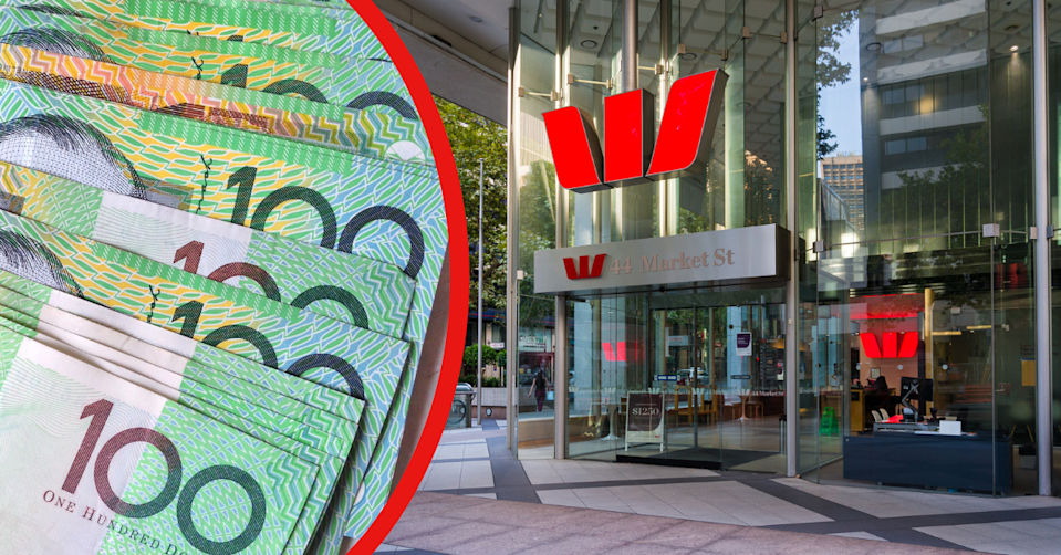 Australian $100 notes stacked on top of each other and the exterior of a Westpac branch.