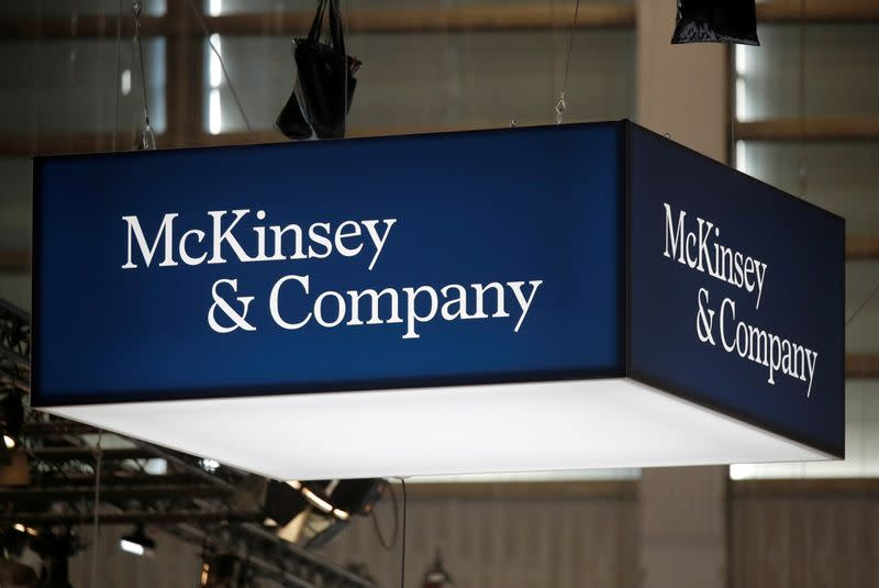 FILE PHOTO: Logo of McKinsey and Company is seen at VivaTech fair in Paris