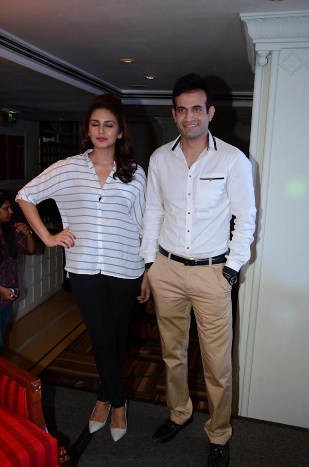 Indian cricketer Irfan Pathan and actor Huma Qureshi during a cooking competition held by Malaysian Palm Oil Council (MPOC) named Fun, Food Lifestyle in Mumbai, on June 27, 2014. (Photo: IANS)