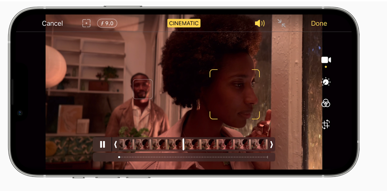 Cinematic mode on iPhone records videos with a beautiful depth effect with automatic focus changes, Apple said. Photo: Apple