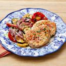 """<p>This easy dinner has two secret cooking hacks: one is that it's all cooked on a sheet pan for easy cleanup and the other is a packet of ranch dressing mix. It's so flavorful! </p><p><strong><a href=""""https://www.thepioneerwoman.com/food-cooking/recipes/a35979958/sheet-pan-ranch-pork-and-veggies-recipe/"""" rel=""""nofollow noopener"""" target=""""_blank"""" data-ylk=""""slk:Get Ree's recipe."""" class=""""link rapid-noclick-resp"""">Get Ree's recipe. </a></strong></p><p><a class=""""link rapid-noclick-resp"""" href=""""https://go.redirectingat.com?id=74968X1596630&url=https%3A%2F%2Fwww.walmart.com%2Fsearch%2F%3Fquery%3Dbaking%2Bsheet&sref=https%3A%2F%2Fwww.thepioneerwoman.com%2Ffood-cooking%2Fmeals-menus%2Fg36109352%2Ffathers-day-dinner-recipes%2F"""" rel=""""nofollow noopener"""" target=""""_blank"""" data-ylk=""""slk:SHOP SHEET PANS"""">SHOP SHEET PANS</a></p>"""