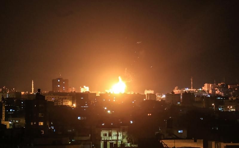 Israeli planes carried out strikes against targets in the Gaza Strip following rocket fire from the Palestinian territory (AFP Photo/ABED ABU RYASH)