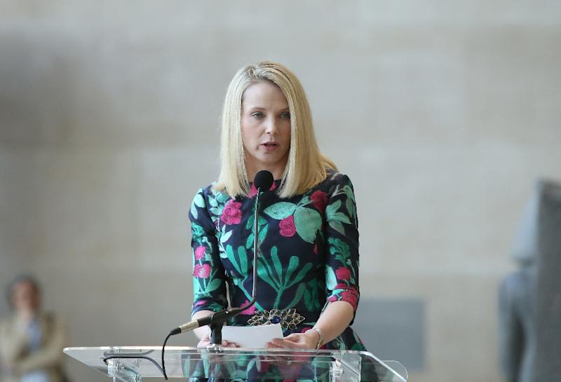 """Chief executive Marissa Mayer, pictured on May 4, 2015, said she was pleased with the revenue growth, saying, """"Yahoo's transformation continues to make great progress"""" (AFP Photo/Bennett Raglin)"""