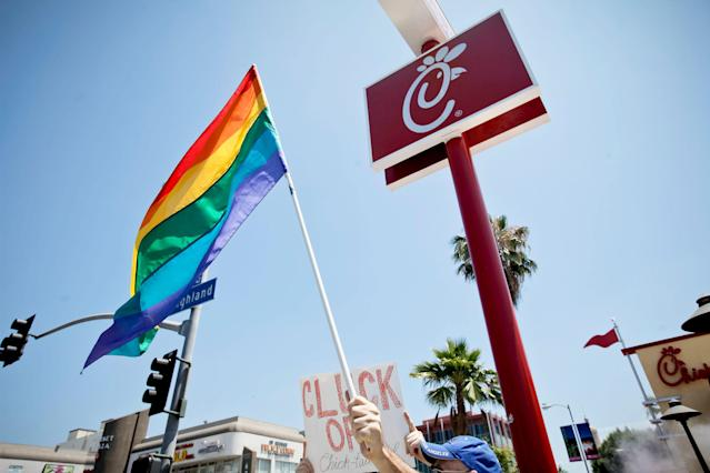 A Chick-fil-A protest in L.A. (Photo: Tibrina Hobson/FilmMagic)