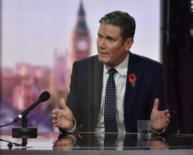 Britain's opposition Labour Party leader Keir Starmer appears on BBC TV's The Andrew Marr Show in London