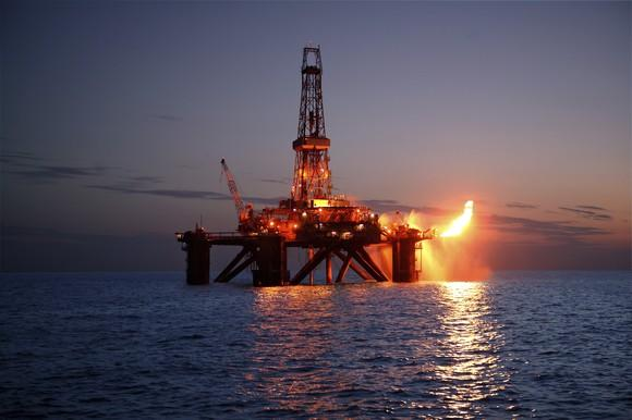 A natural gas flare from an offshore drilling rig.
