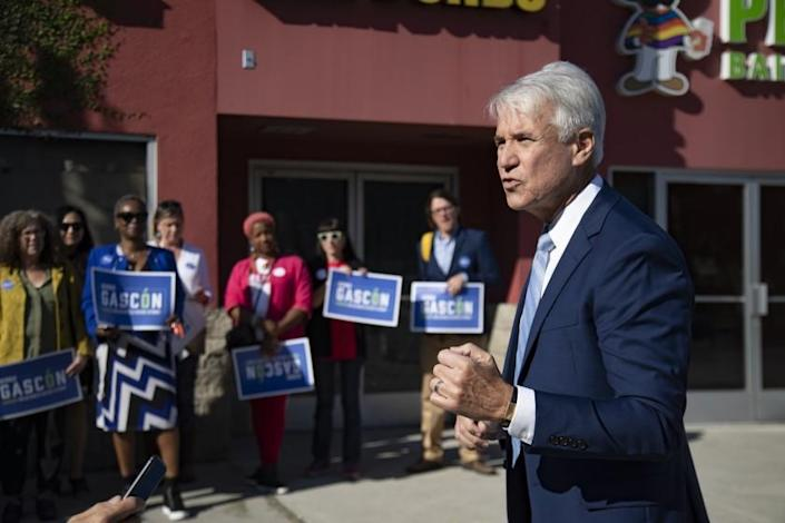 LOS ANGELES, CA - OCTOBER 28, 2019: George Gascon announces his plan to run for L.A. District Attorney during a press event at a strip mall across from the Twin Towers on October 28, 2019 in Los Angeles, California. (Gina Ferazzi/Los AngelesTimes)