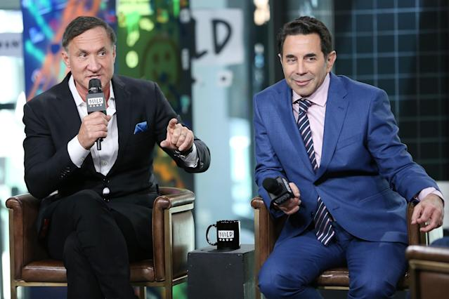 Plastic surgeons and television personalities Dr. Terry Dubrow (L) and Dr. Paul Nassif visit Build Studio to discuss their television show 'Botched.' (Photo by Monica Schipper/Getty Images)