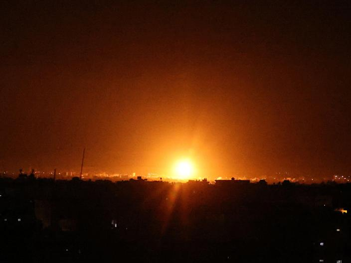 An Israeli airstrike on the city of Khan Yunis (AFP via Getty Images)