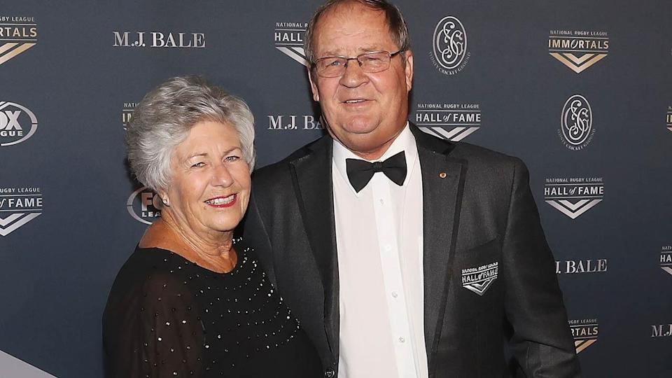 Tommy Raudonikis with Trish Brown at the 2018 NRL Hall of Fame. (Photo by Mark Evans/Getty Images)