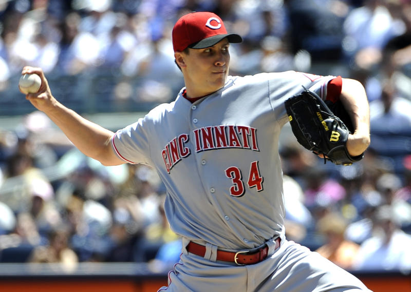 Cincinnati Reds starting pitcher Homer Bailey throws against the New York Yankees in the first inning of an interleague baseball game on Saturday, May 19, 2012, at Yankee Stadium in New York. (AP Photo/Kathy Kmonicek)