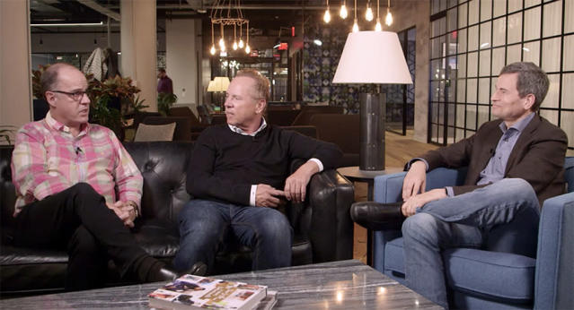 David Pogue (right) interviews Ted Farnsworth (left) and Mitch Lowe.