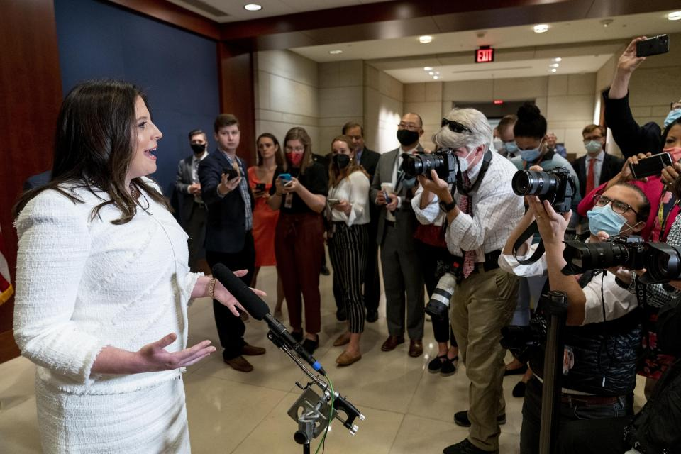 Newly-elected House Republican Conference Chair Rep. Elise Stefanik, R-N.Y., speaks to members of the media at the Capitol in Washington, Friday, May 14, 2021. On Friday Stefanik was elected chair of the House Republican Conference, replacing Rep. Liz Cheney, R-Wyo., who was ousted from the GOP leadership for criticizing former President Donald Trump. (AP Photo/Andrew Harnik)