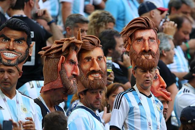 <p>Argentina fans show their support prior to the 2018 FIFA World Cup Russia group D match between Nigeria and Argentina at Saint Petersburg Stadium on June 26, 2018 in Saint Petersburg, Russia. (Photo by Robbie Jay Barratt – AMA/Getty Images) </p>