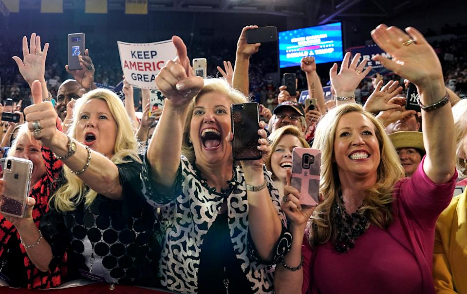 Supporters at President Trump's campaign rally in Greenville, N.C. (Photo: Kevin Lamarque/Reuters)