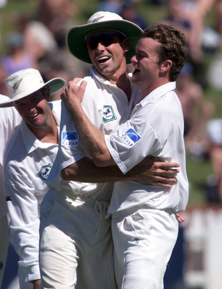 WELLINGTON, NEW ZEALAND - DECEMBER 29:  New Zealand's Dion Nash,right celebrates with captain Stephen Fleming after West Indies Shivnarine Chanderpaul was caught behind on the fourth day of the second test played at the Basin Reserve,Wednesday.DIGITAL IMAGE.  (Photo by Phil Walter/Getty Images)