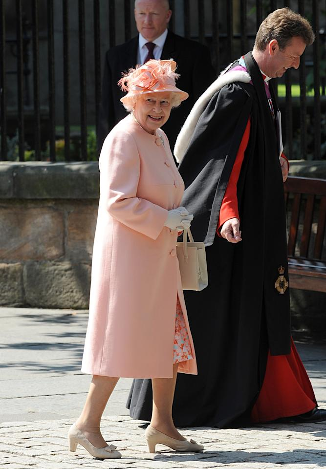 Queen Elizabeth II for the wedding of Zara Phillips and Mike Tindall. Owen Humphreys/P