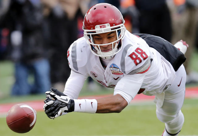 Washington State wide receiver Isiah Myers comes up short during the second half of the NCAA New Mexico Bowl college football game against Colorado State, Saturday, Dec. 21, 2013, in Albuquerque, N.M. Colorado State won 48-45.(AP Photo/Matt York)