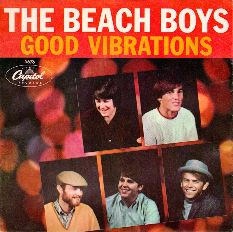 "OCTOBER 22: Album cover for the rock and roll band ""The Beach Boys"" record ""Good Vibrations"" which released on October 22, 1966. Clockwise from top left: Brian Wilson, Dennis Wilson, Al Jardine, Carl Wilson, Mike Love. (Photo by Michael Ochs Archives/Getty Images)"