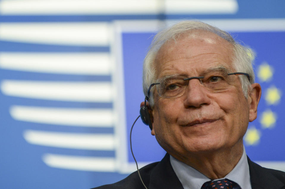 European Union foreign policy chief Josep Borrell speaks during a media conference after a meeting of EU foreign ministers at the European Council building in Brussels, Monday, Feb 22, 2021. (Johanna Geron, Pool via AP)