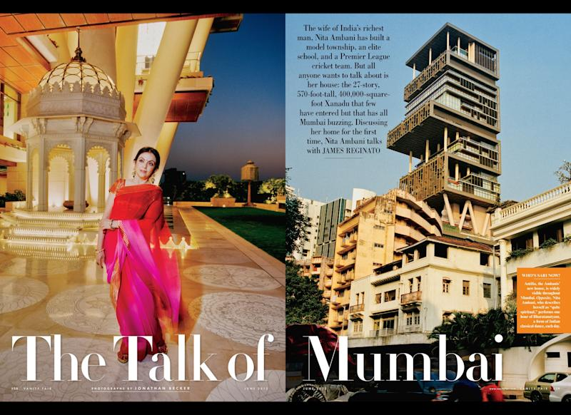 "Nita Ambani talks about her 27-story 400,000 sq. foot, $1B home in the <a href=""http://www.vanityfair.com/society/2012/06/ambani-residence-photos-inside-architecture"">June issue of Vanity Fair</a>. Credit: Jonathan Becker, Courtesy of Vanity Fair <a href=""http://www.vanityfair.com/society/2012/06/ambani-residence-photos-inside-architecture"">Read More Here</a>"