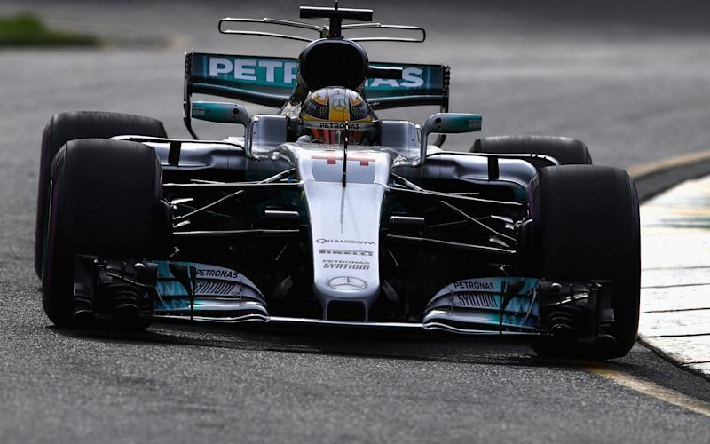 Lewis Hamilton on track at Melbourne's Albert Park during practice. - Getty Images AsiaPac