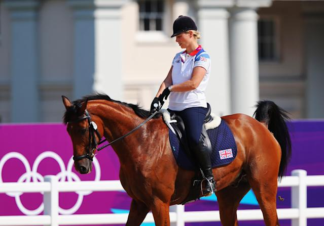 LONDON, ENGLAND - JULY 26: Zara Phillips of Great Britain rides High Kingdom during an Equestrian practice session ahead of the London 2012 Olympics at Greenwich Park on July 26, 2012 in London, England. (Photo by Alex Livesey/Getty Images)