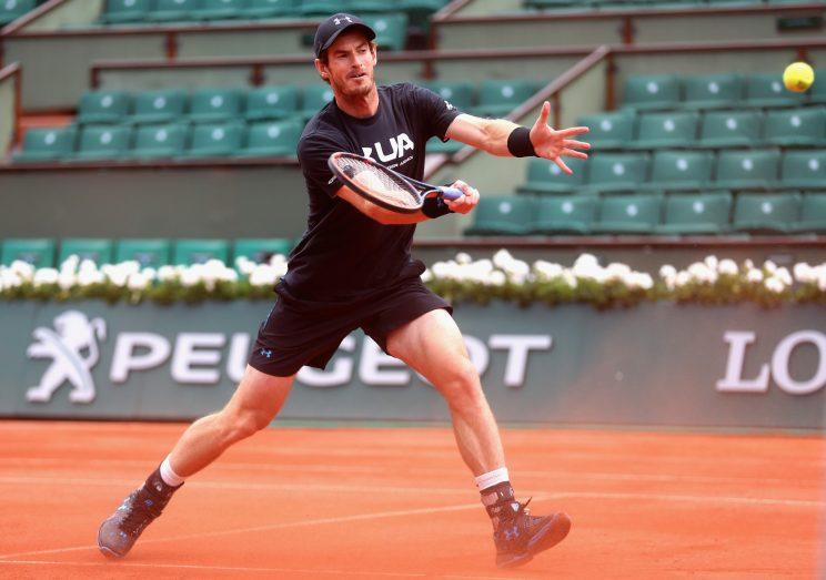 Andy Murray hits a shot before his match in the French Open quarterfinals against Kei Nishikori. (Getty Images)