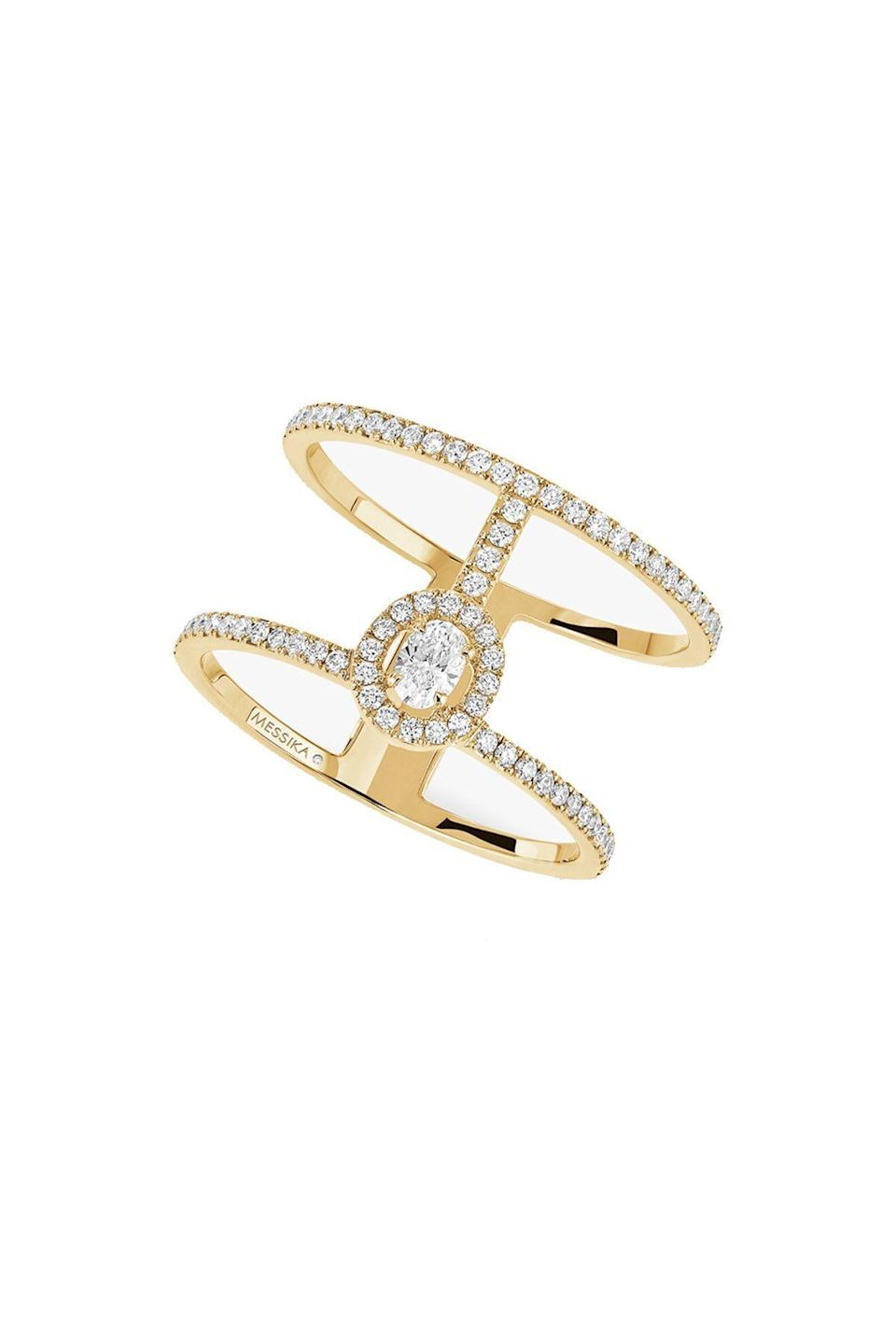 """<p><strong>Messika</strong></p><p>messika.com</p><p><strong>$3900.00</strong></p><p><a href=""""https://www.messika.com/us_en/yellow-gold-pave-diamond-ring-2-rows-glamazone-05237-yg"""" rel=""""nofollow noopener"""" target=""""_blank"""" data-ylk=""""slk:Shop Now"""" class=""""link rapid-noclick-resp"""">Shop Now</a></p><p>Don't wait for a wedding band to start stacking. The openwork structure of this gold and pave diamond ring is delicate, but makes a huge impact.</p>"""