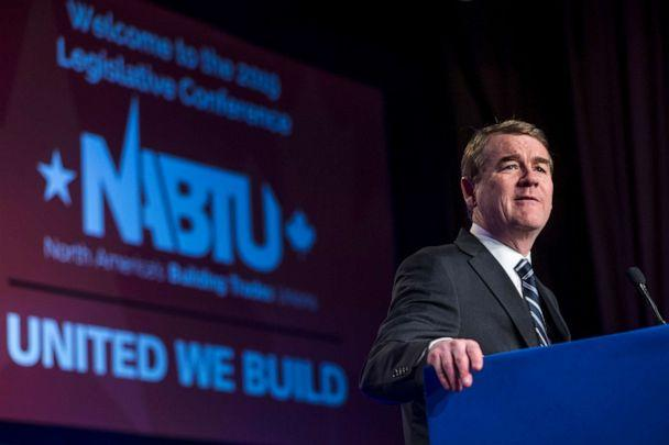 PHOTO: Sen. Michael Bennet speaks during the North American Building Trades Unions Conference at the Washington Hilton, April 10, 2019, in Washington, DC. (Zach Gibson/Getty Images)