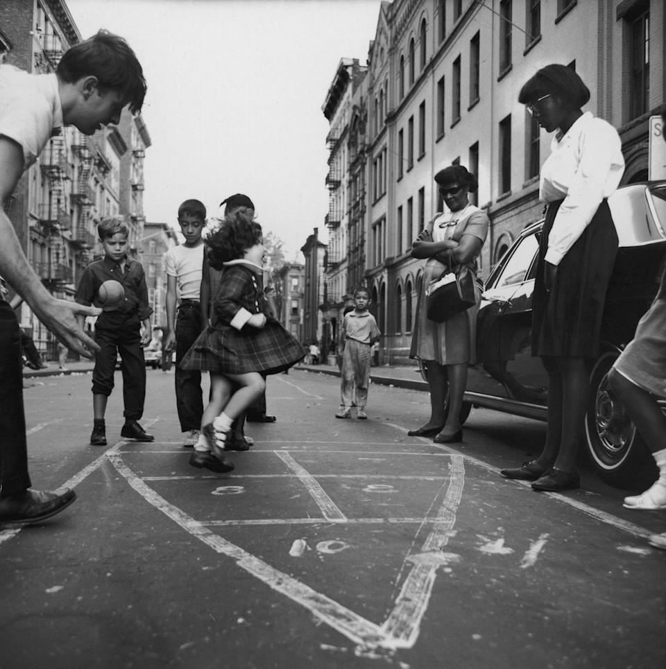 <p><span>Big cities were not filled with parks and green spaces like they are now. Stickball, street hockey, Ringolevio, Marco Polo, and hide-and-seek were just a few of the games that kids played on high-trafficked streets in the '60s. They also </span><span>played with marbles and aimed them into the small holes in manhole covers, and there were hopscotch boards written with chalk on the asphalt. Everyone moved out of the way when cars came and when the cars drove off, games resumed. </span><br></p>
