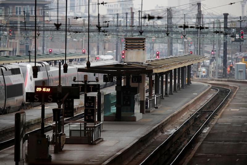 Empty tracks at the Gare de Lyon railway station in Paris on Friday as SNCF workers continue to strike (REUTERS)