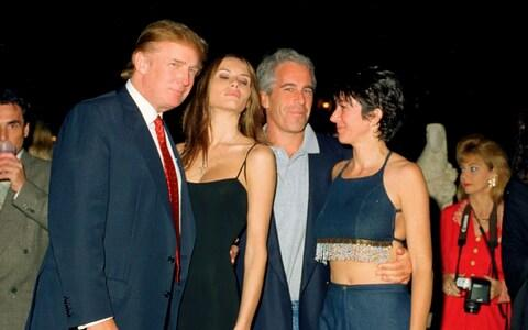 Donald Trump, Melania Trump, Jeffrey Epstein, and Ghislaine Maxwell [left to right] at the Mar-a-Lago club in Florida in 2000 - Credit: Davidoff Studios/Getty Images